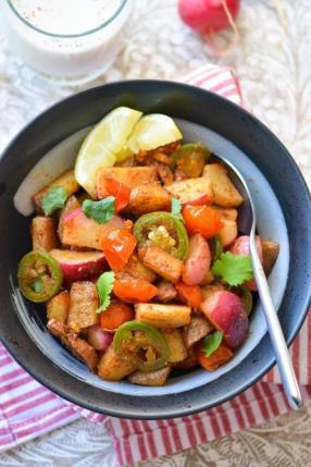 Vegan, Zesty and Warm Radish-Potatoes Bowl - Indian Vrat Ki Chatpati Aloo Mooli Sabji Recipe - ChefDeHome.com