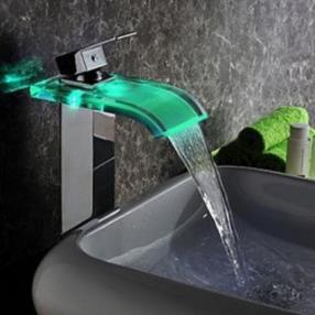 Contemporary Chrome Finish(Tall) LED Waterfall Hydroelectric Power Glass Bathroom Sink Faucet--Faucetsdeal.com