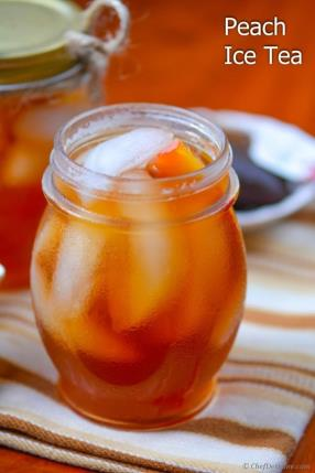 Refreshing Summer Peach Ice Tea Recipe -ChefDeHome.com
