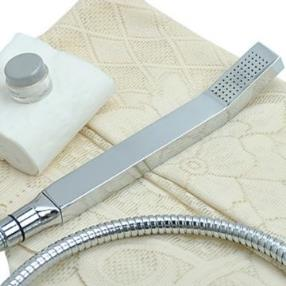 Contemporary Chrome Finish Square Solid Brass Handheld Shower head--Faucetsmall.com