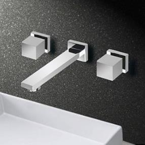 Mixer Dual Handle Three Hole Wall Mounted Bathroom Sink Faucets--Faucetsdeal.com