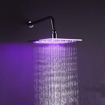 10 Inch Square Chrome 3 Colors LED Temperature Sensitive Rainfall Shower Head--Faucetsmall.com