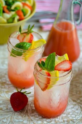 Strawberry Basil Lemonade Recipe-ChefDeHome.com