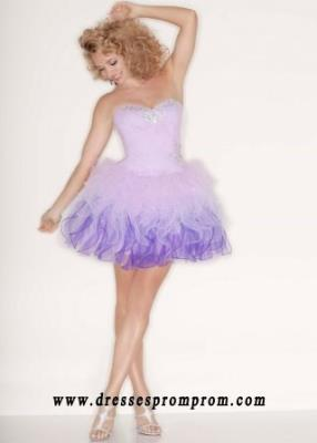 Jeweled Ruffled Ombre Lilac Corset Back Tulle Party Dress