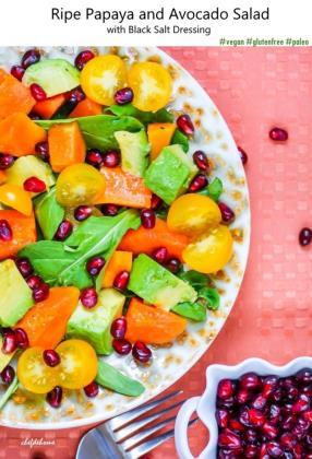 Ripe Papaya and Avocado Salad with Black Salt Dressing Recipe - ChefDeHome.com