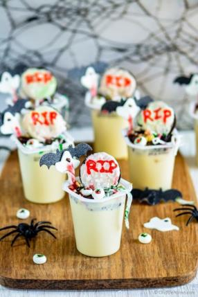 Witch House in Graveyard - Halloween Pudding Cups  Recipe - ChefDeHome.com