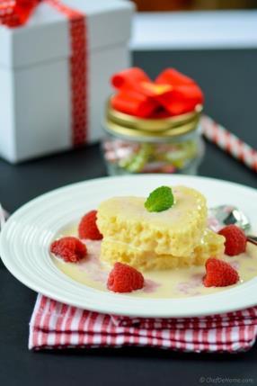 Tres Leches Cake Hearts with Raspberry-Cream Sauce Recipe - ChefDeHome.com