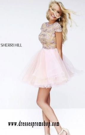 A-Line Nude Blush Sherri Hill 21304 2015 Short Beaded Prom Dresses