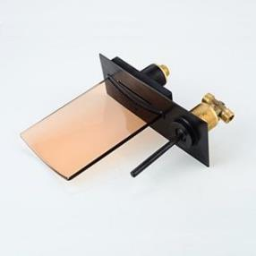 Black LED Waterfall Wall Mounted Oil-rubbed Bronze Bathroom Sink Faucet--Faucetsdeal.com
