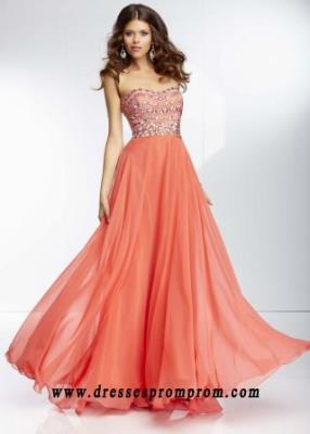 Cheap Coral Jewel Beaded Strapless Long Prom Dresses Sale