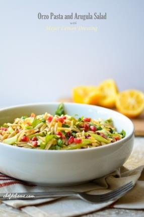 Vegan Orzo Pasta Salad with Arugula and Meyer Lemon Dressing Recipe -ChefDeHome.com