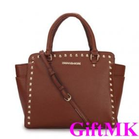 Michael Kors Selma Studded Saffiano Large Brown Tote Bags