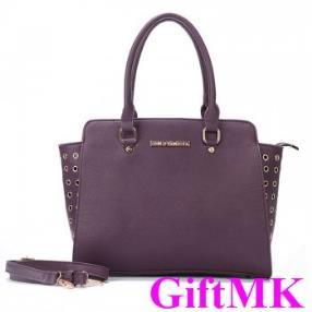 Michael Kors Selma Top-Zip Grommet Large Purple Satchel
