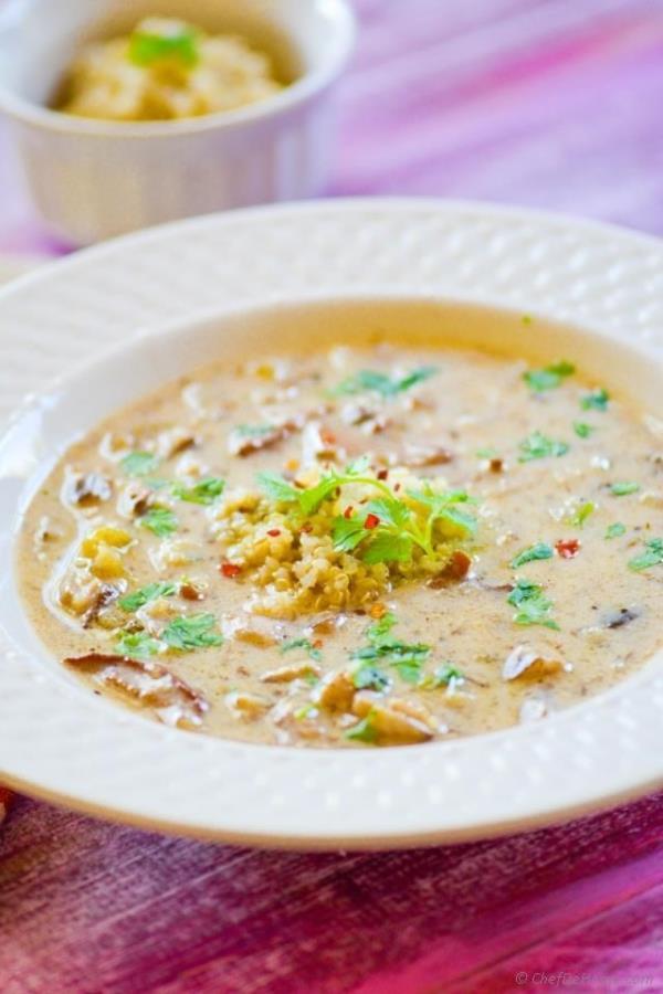 Quinoa and Wild Mushroom Soup Recipe -ChefDeHome.com