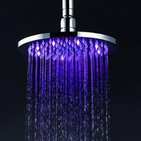 8 Inch Brass Shower Head with Color Changing LED Light--Faucetsmall.com--Faucetsmall.com