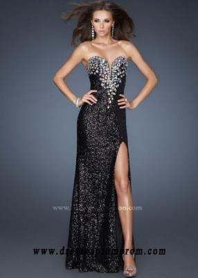 2016 Sparkly Jewels Sequines Full-length With Slit Black Gown
