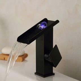 Antique Black ORB Finish LED Waterfall Bathroom Sink Faucet--Faucetsdeal.com