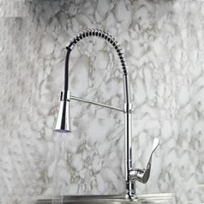 3 Color Changing Contemporary Chrome Finish Single Handle Pull-Out LED Kitchen Faucet--Faucetsdeal.com