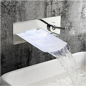 Single Handle Chrome Finish Waterfall Wall Mount Bathroom Sink Faucet--Faucetsdeal.com