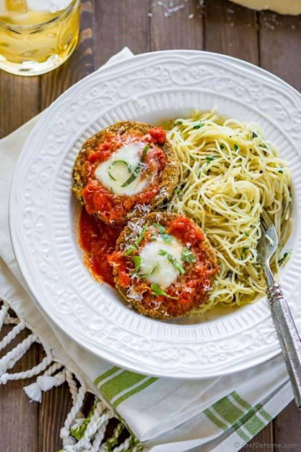 Healthy Baked Eggplant Parmesan Recipe -ChefDeHome.com