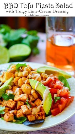 BBQ Tofu Fiesta Salad with Tangy Lime-Cream Dressing Recipe - ChefDeHome.com