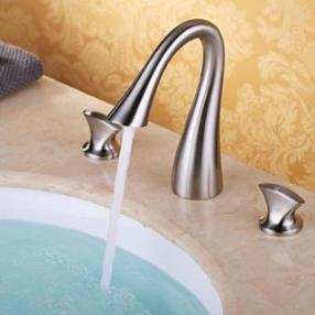 Two Handles Nickel Brushed Waterfall Bathroom Sink Faucet--Faucetsdeal.com