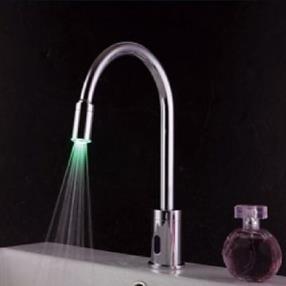 Chrome Finish Contemporary Brass LED Sensor Bathroom Sink Faucet--Faucetsmall.com