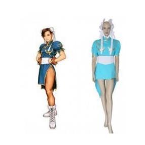 Street Fighter Chun Li Blue Fighting Game Cosplay Costume--CosplayDeal.com
