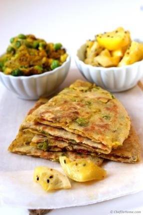 Spiced Potatoes and Peas Stuffed Flat Bread with Preserved Lemons Recipe -  ChefDeHome.com