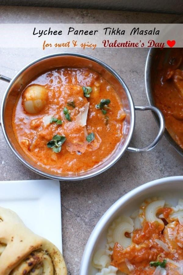Lychee Paneer Tikka Masala - a sweet, spicy and aromatic #dinner for two for #Valentine 's Day