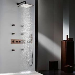Antique Brass Rainfall Thermostatic Orb Finish Shower Faucet Set--Faucetsmall.com