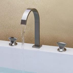 Contemporary Waterfall Brass Nickel Brushed Bathroom Sink Faucets--Faucetsmall.com