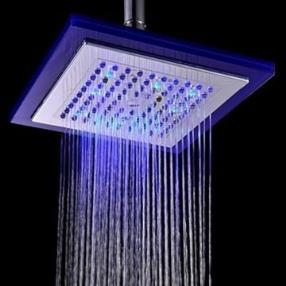 8 Inch Temperature Control LED RGB Square Bathroom Shower Head--Faucetsmall.com