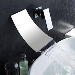 Contemporary Design Widespread (Chrome Finish) Waterfall Bathroom Sink Faucet--Faucetsdeal.com