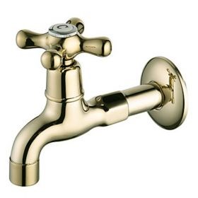 Ti-PVD Finish Wall-Mount Antique Style Brass Gold Bathroom Faucets (Washing Machine Faucets)--FaucetSuperDeal.com