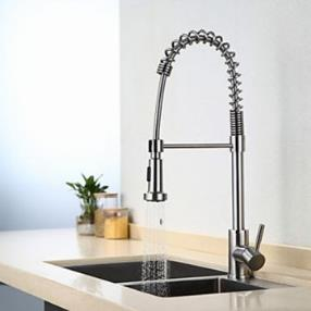Contemporary Pullout Spray Stainless Steel Spring Nickel Brushed Finish Single Handle Kitchen Faucet--Faucetsmall.com