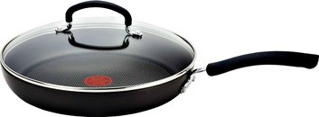 This amazing skillet has a very durable anodized nonstick scratch resistant interior with a unique thermo-spot heat indicator that shows you when the pan is perfectly preheated