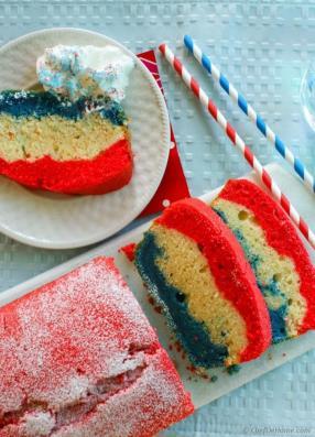 Patriotic Tri-Color Pound Cake Recipe - ChefDeHome.com