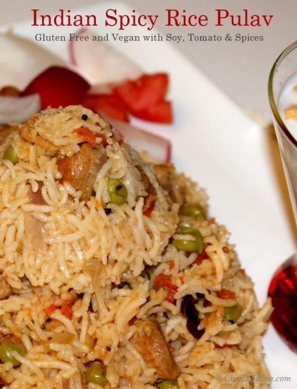 Soy Rice Pulav (or Pilaf) is north Indian Staple dish.