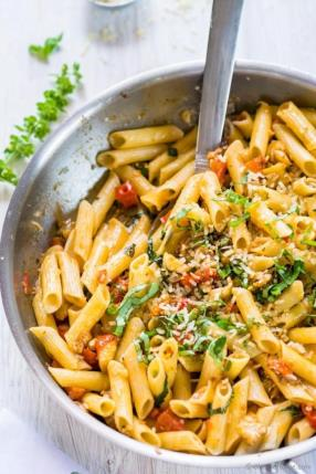 Roasted Eggplant and Tomato Penne Pasta Recipe - ChefDeHome.com