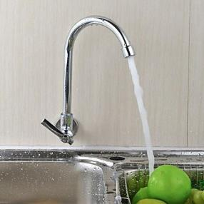 Wall Type 360 Rotatable Chrome Plated Brass Kitchen Sink Faucet--Faucetsdeal.com