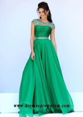 Illusion Cap Sleeves Beaded Ruched Open Back Sherri Hill 11181 Emerald Prom Dress