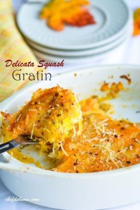 Herbed Delicata Squash Gratin - Thanksgiving Dinner Countdown Recipe - ChefDeHome.com