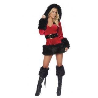 Black Plush Miss Santa Mini Dress Adult Women Christmas Costume