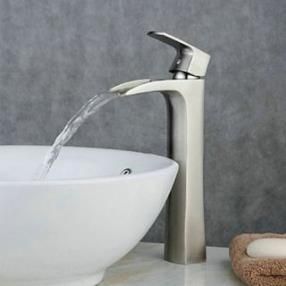 Nickel Brushed Brass Contemporary Centerset Waterfall Bathroom Sink Faucet--Faucetsdeal.com