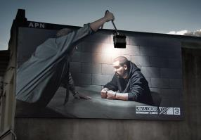 Law and Order outdoor lamp display commercial