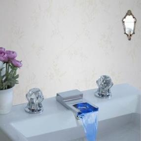 Contemporary Ceramic Valve Widespread LED Chrome Waterfall Two Handles Bathroom Sink Faucet--Faucetsdeal.com