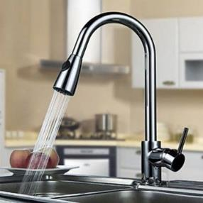 Contemporary Brass Pull Out Kitchen Faucet - Chrome Finish--Faucetsmall.com