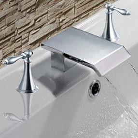 Contemporary Waterfall Chrome Two Handles Bathroom Sink Faucets--Faucetsdeal.com