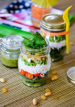 Marinated Kale and Rice Salad in a Jar Recipe - ChefDeHome.com